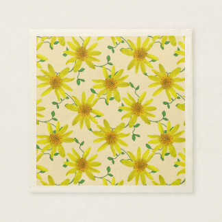 Floral Sweet Yellow Wildflowers on any Color Paper Napkins
