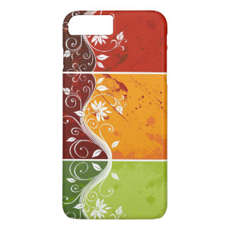floral swirl art on red,orange,green background iPhone 7 plus case