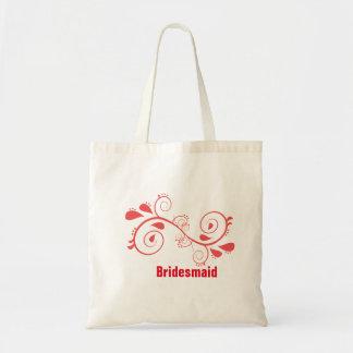 Floral Swirl Bridesmaid Wedding Tote Bag