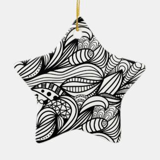 Floral Swirl Ceramic Star Decoration
