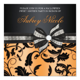 "Floral Swirl Sweet Sixteen Invite With Jeweled Bow 5.25"" Square Invitation Card"