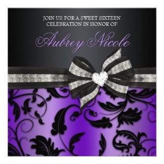 Floral Swirl Sweet Sixteen Invite With Jewelled Bo