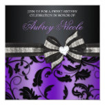Floral Swirl Sweet Sixteen Invite With Jewelled 13 Cm X 13 Cm Square Invitation Card