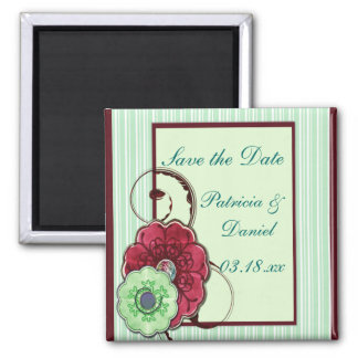 Floral Swirls Wedding Square Magnet