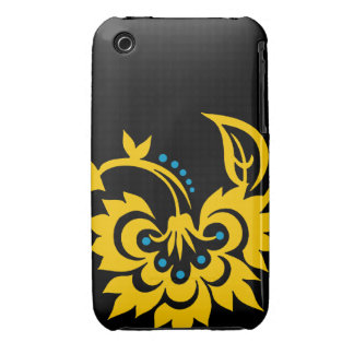 Floral Tattoo design iPhone 4 case Black Yellow