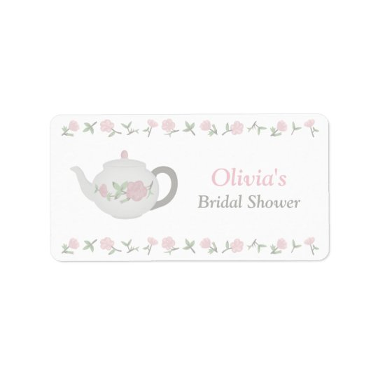 Floral Tea Party Bridal Shower Party Decor Address Label