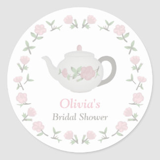 Floral Tea Party Bridal Shower Party Decor Classic Round Sticker