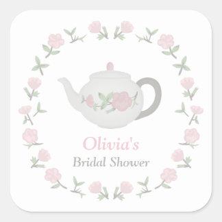 Floral Tea Party Bridal Shower Party Decor Square Sticker