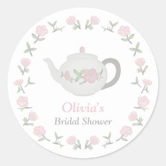 Floral Tea Party Bridal Shower Party Decor Round Sticker