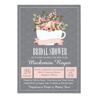 Floral Teacup Bridal Shower Invitation, Tea Party Card