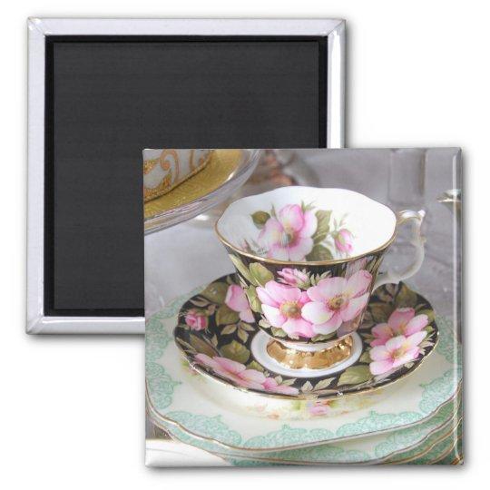 Floral teacup Fridge Magnet