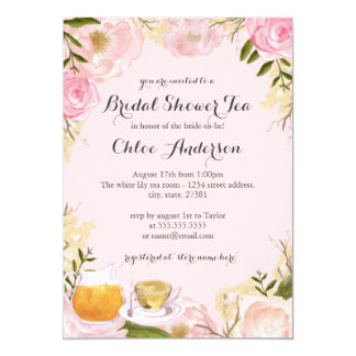 Floral Teacup Pink Bridal Shower Invitation