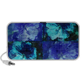 Floral Teal and Blue Doodle Speakers
