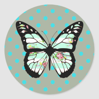 Floral Teal and Pink Butterfly Stickers