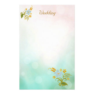 Floral Teal Blue Wedding Stationery Notes White