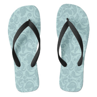 Floral Teal Pattern Flip Flops Thongs