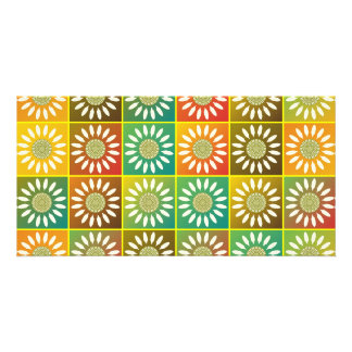 Floral tessellation photo greeting card