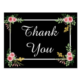 Floral Thank You Black and Pink Rose Flowers Postcard