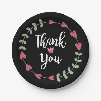 Floral Thank You Black, Pink Hearts, Green Wreath 7 Inch Paper Plate
