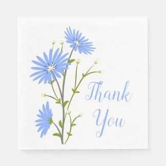Floral Thank You Blue Daisy Flowers Wedding Party Paper Napkin