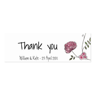 Floral thank you card for wedding favours pack of skinny business cards