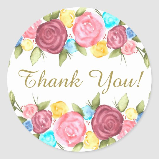 Floral Thank You Classic Round Sticker