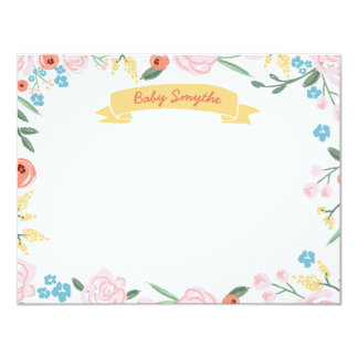 Floral Thank You Flat Note, Gender Neutral Baby 11 Cm X 14 Cm Invitation Card