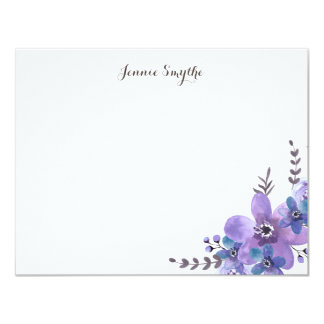 Floral Thank You Flat Note, Purple Watercolor 11 Cm X 14 Cm Invitation Card