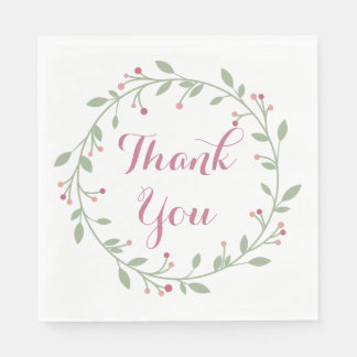 Floral Thank You Green Leaf And Pink Wreath Disposable Serviettes