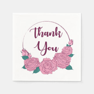 Floral Thank You Pink Lavender Rose Flowers Purple Disposable Serviettes