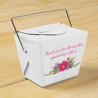 Floral Thank You Pink Magenta Watercolor Flowers Favour Box