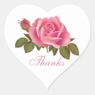 Floral Thank You Pink Rose Flower Wedding Heart Sticker