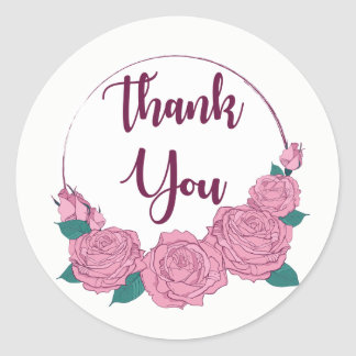 Floral Thank You Pink Rose Flowers  Lavender Heart Classic Round Sticker