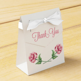 Floral Thank You Pink Roses Watercolor Flowers Favour Box