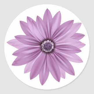 Floral Thank You Purple Daisy Flower - Lavender Classic Round Sticker