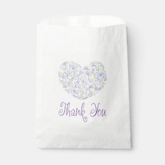 Floral Thank You Purple Lavender Heart Favour Bag