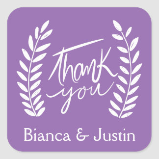Floral Thank You Purple White Laurel Wreath Names Square Sticker