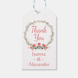 Floral Thank You Rose Pink Red Wreath Flowers Gift Tags