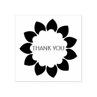 Floral Thank You Rubber Stamp