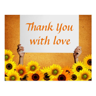 Floral Thank You Sunflower Yellow & Orange Flowers Postcard
