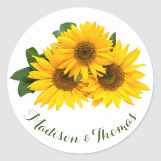 Floral Thank You Sunflowers Yellow & Green Wedding Round Sticker