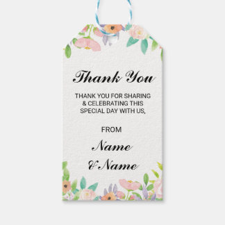 Floral Thank You Tag Watercolour Wedding Favour