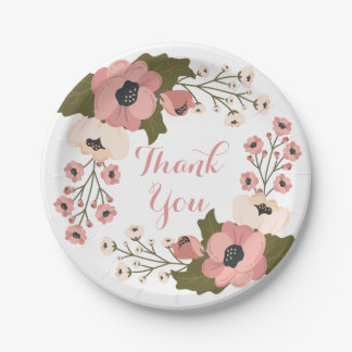 Floral Thank You Watercolor Pink Flowers Wedding 7 Inch Paper Plate