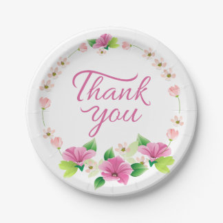 Floral Thank You Watercolor Pink & Purple Flower Paper Plate