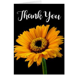 Floral Thank You Yellow Orange Flower Black Card