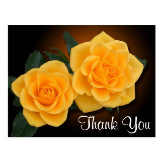 Floral Thank You Yellow Rose Flowers Postcard
