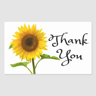 Floral Thank You Yellow Sunflower Flowers Rectangular Sticker