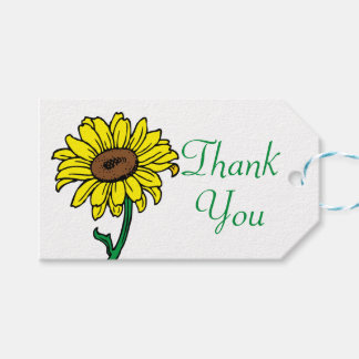 Floral Thank You Yellow  Sunflower Wedding Gift Tags