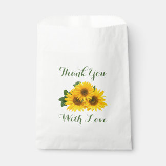 Floral Thank You Yellow Sunflowers Green Love Favour Bag