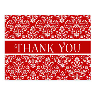 Floral Thank Your Red and White Damask Flower Postcard